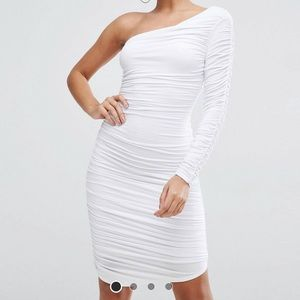 ASOS One Shoulder Ruched Midi Bodycon Dress